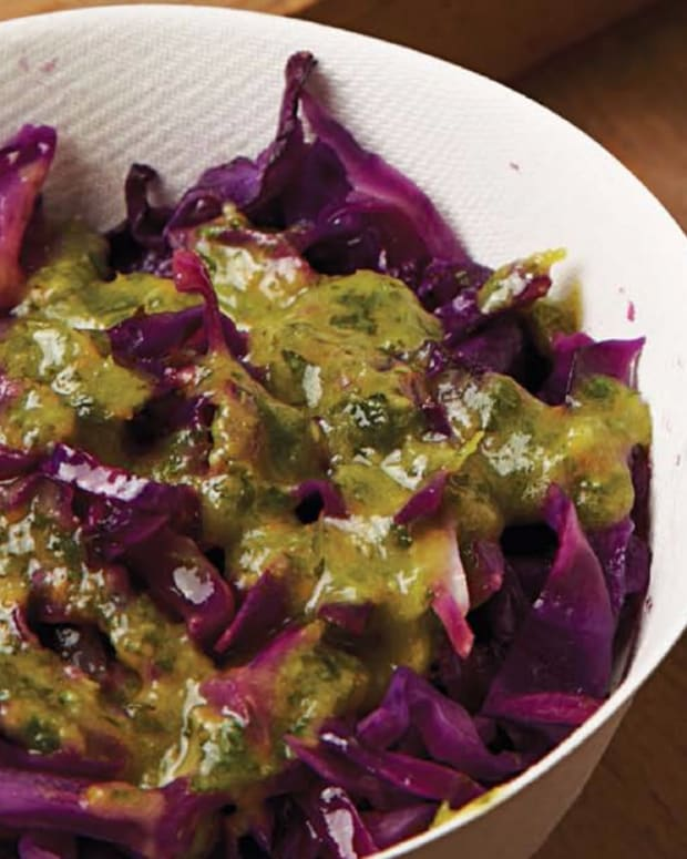 Wilted Red Cabbage with Garlic Confit Gremolata