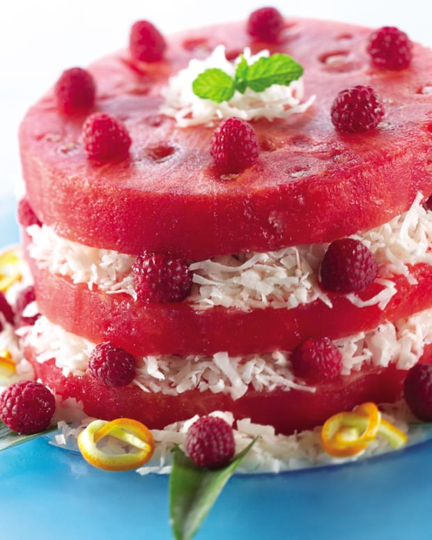 Watermelon Cake with Coconut and Raspberries