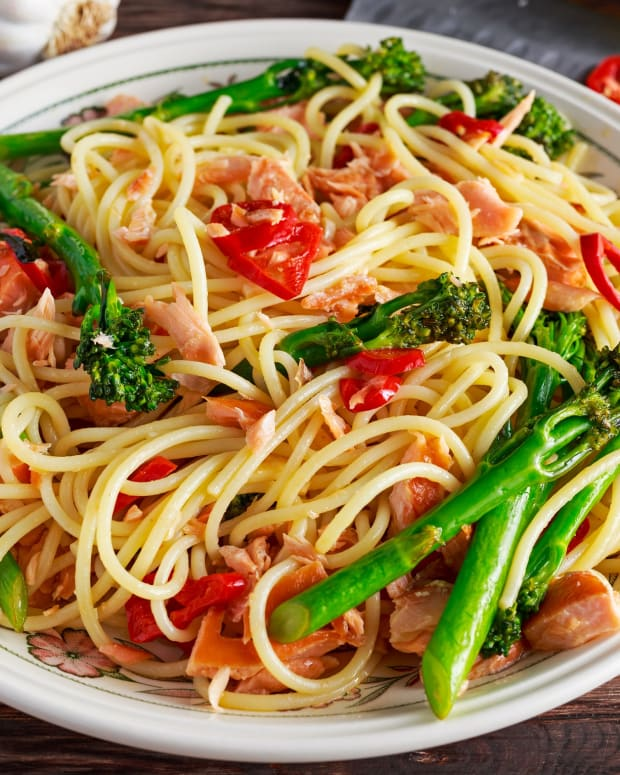 Simple Salmon Over Noodles and Veggies