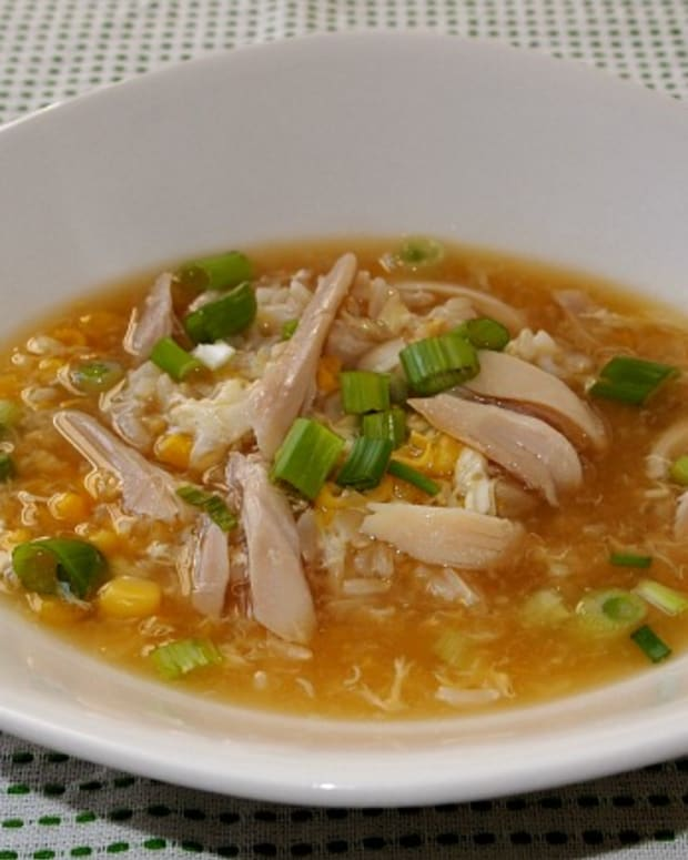 creamed corn, egg drop, chicken soup