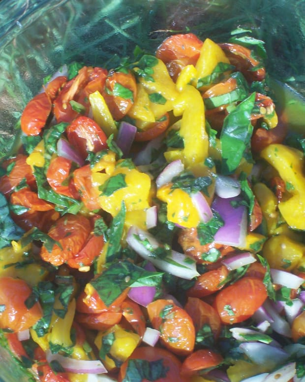 Oven Roasted Tomato, Basil and Roasted Pepper Salad