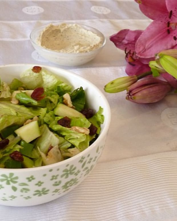 salad with yogurt tahini