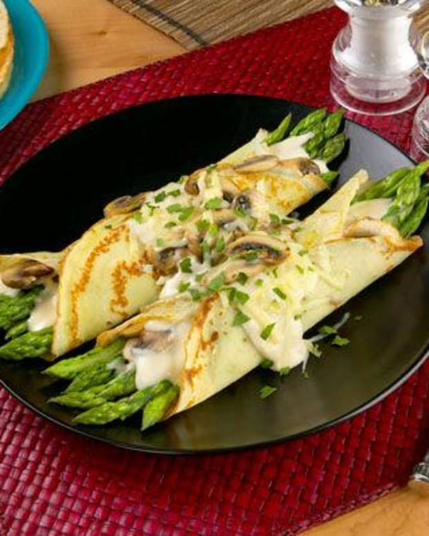 California Asparagus and Mushroom Filled Crepes