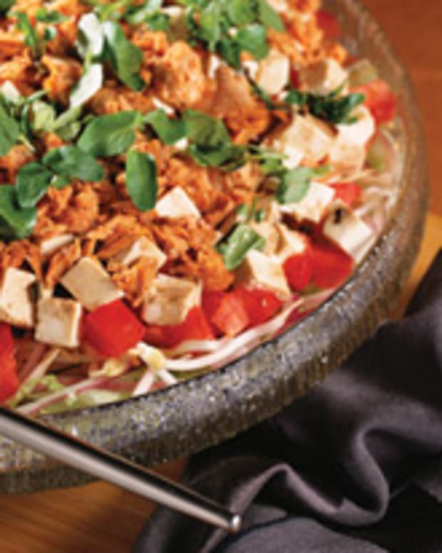 Layered Tofu Salad & Warm Soy Sauce Dressing
