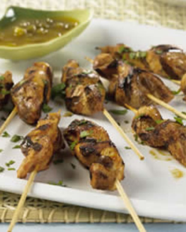Marinated Grilled Chicken Skewers with California Raisin Sambal (Murghi Kebabs)