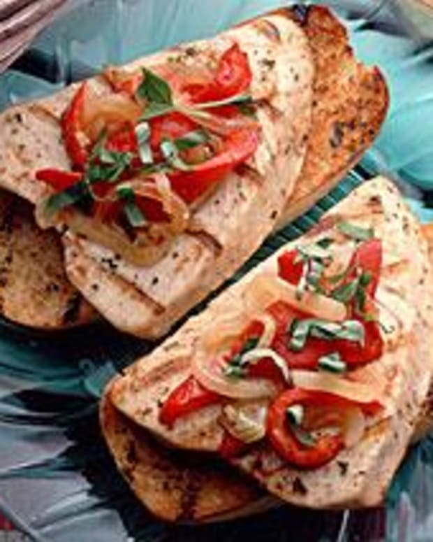 Grilled Albacore Sandwich With Red Peppers