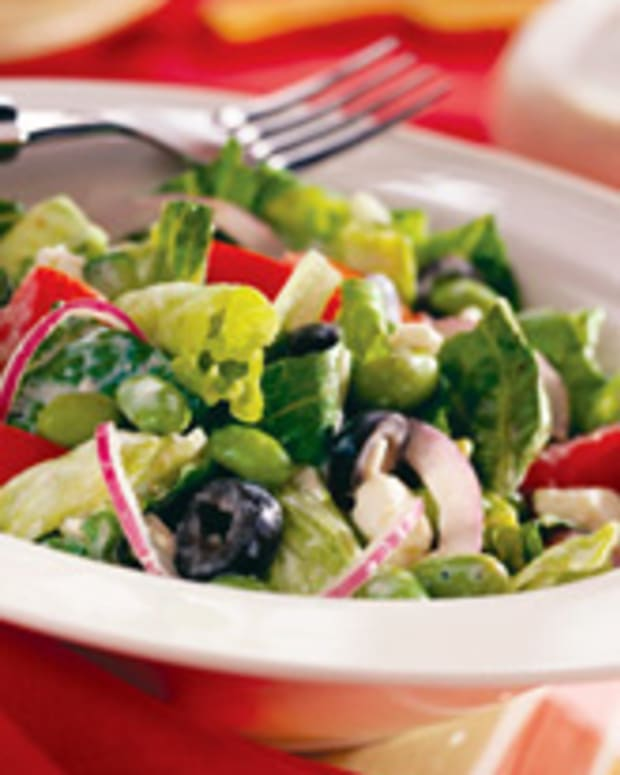 Greek Salad with Tangy Lemon Tofu Dressing