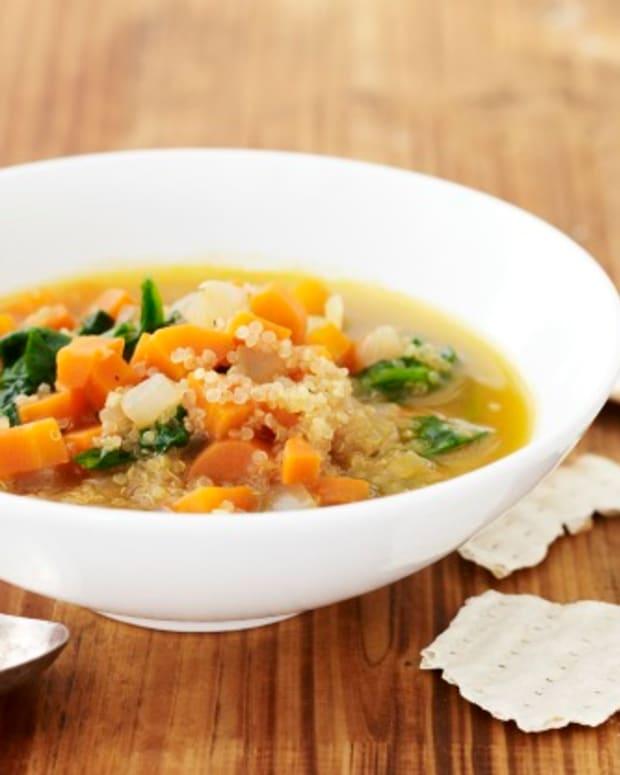 carrot quinoa spinach soup