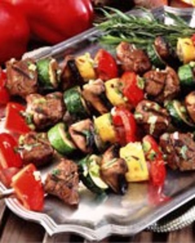 Grilled Turkey, Portabella Mushrooms and Vegetable Kebabs