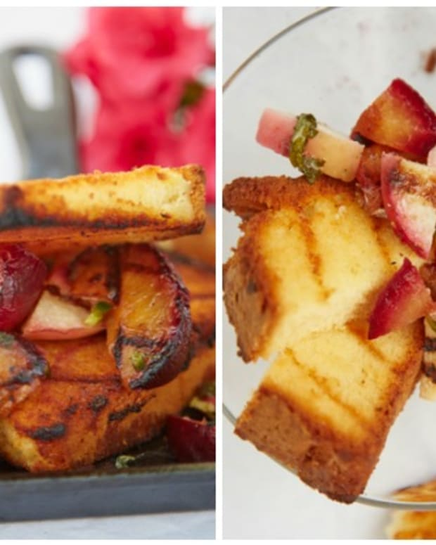grilled pound cake and plum salsa