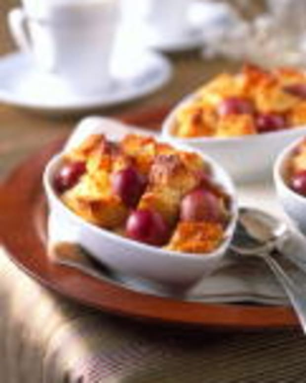 Bricohe and Grape Bread Pudding