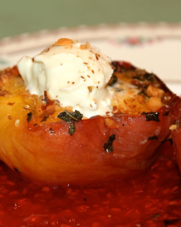 Roasted Peaches with Mint and Raspberry Sauce