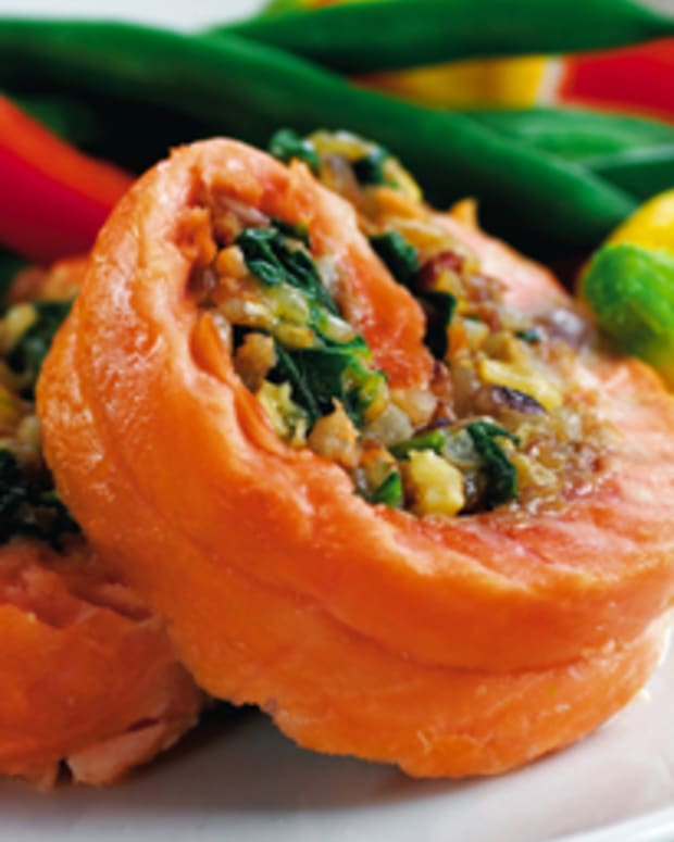 Walnut Stuffed Salmon