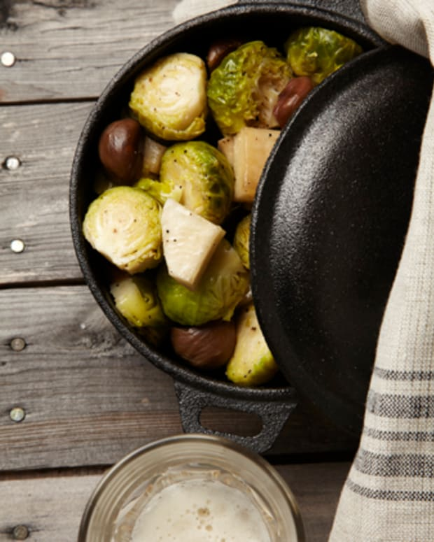 Caramelized Turnips and Brussels Sprouts