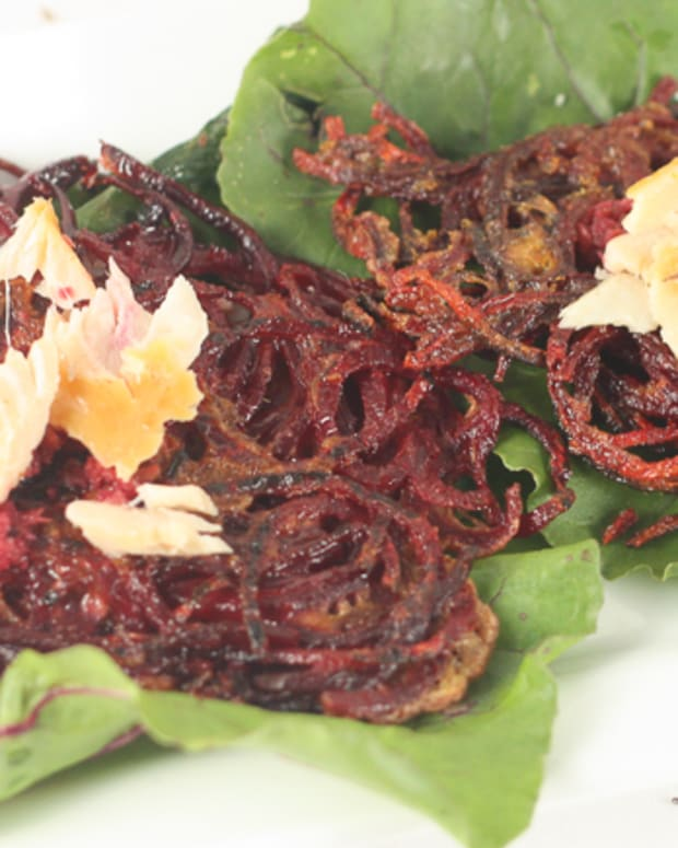Beet Latkes with Horseradish and Smoked Fish 647