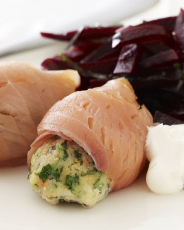 Chilean Sea Bass Mousse Wrapped with Smoked Salmon with Horseradish Lemon Aioli
