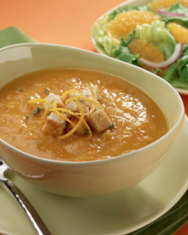Butternut Squash Soup with Orange Croutons