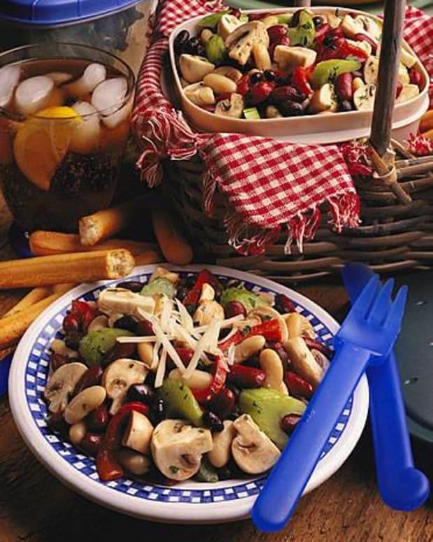Fresh Mushroom Three-Bean Salad