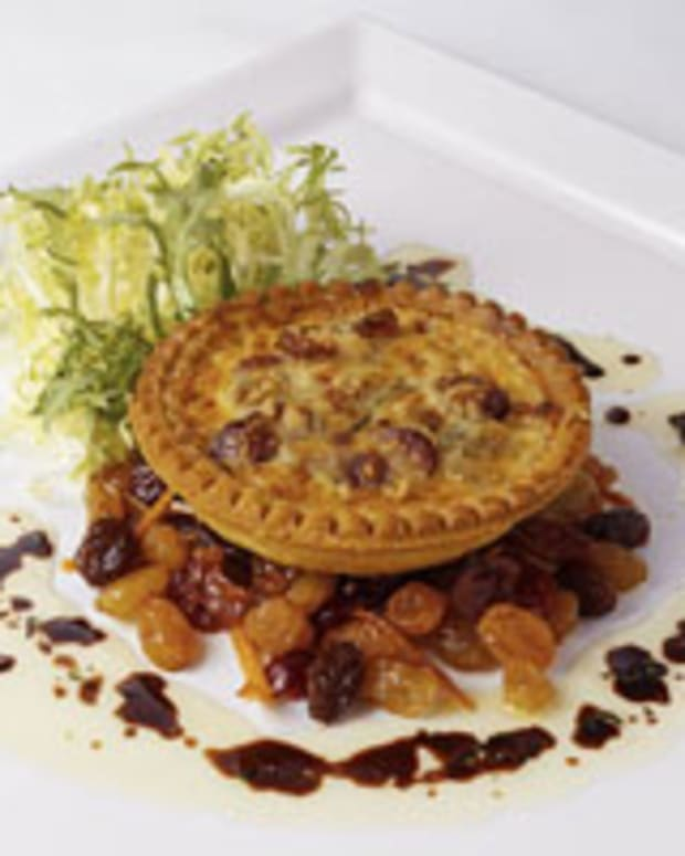 Asiago-Goat Cheese Tartlet with Golden Raisins and Cranberries