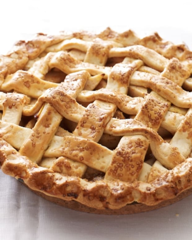 Caramel Pear Lattice Pie