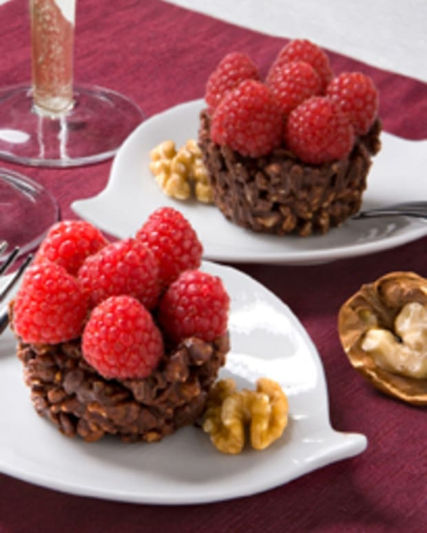 Walnut Raspberry Chocolate Tartlets