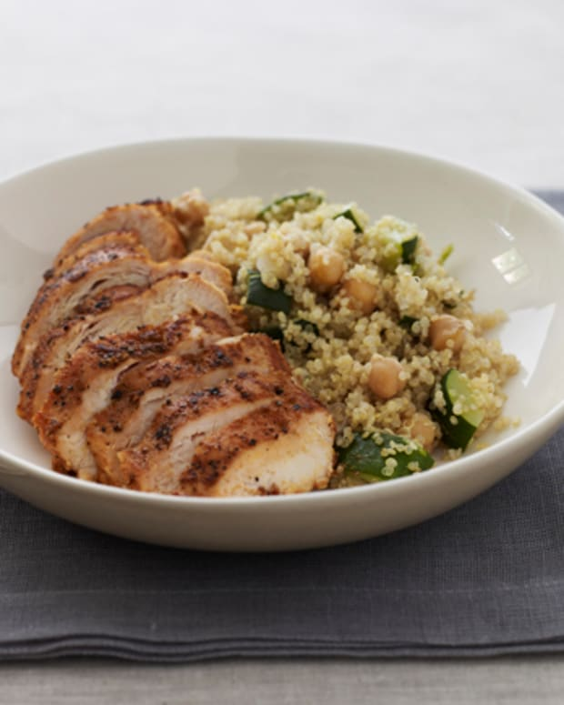 Quinoa with Zucchini and Spiced Skillet Chicken