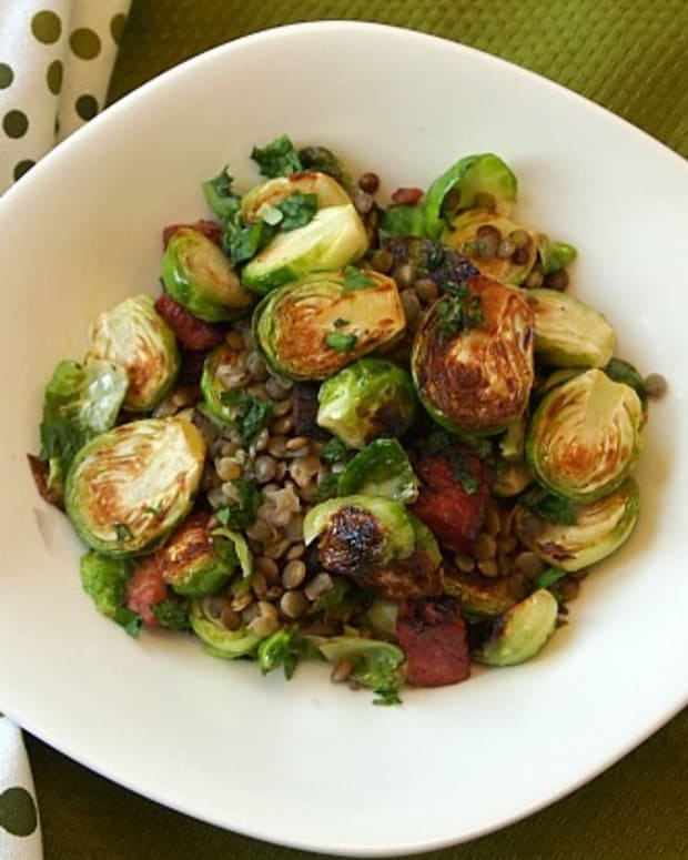 Fried Brussels Sprouts and Lentils