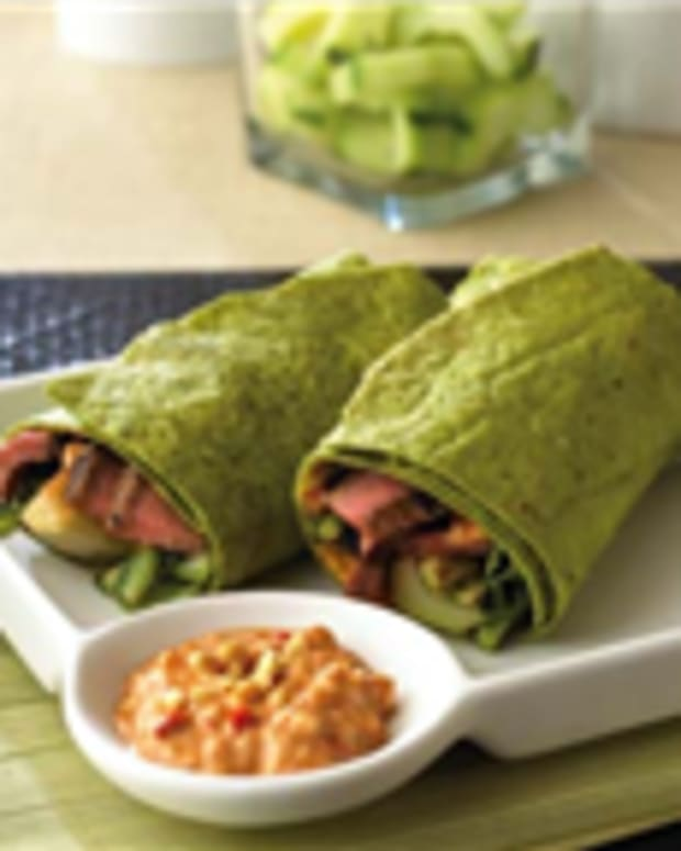 Grilled Szechuan Steak & Bok Choy Wraps with Spicy Peanut Mayonnaise