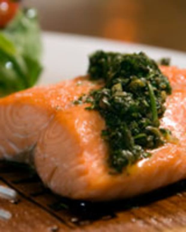 Slow Roasted Salmon with Mint Pesto