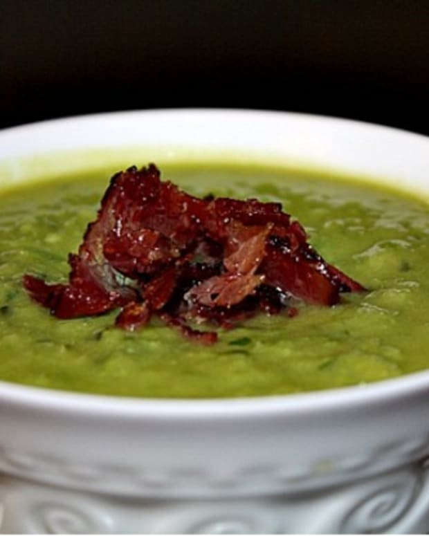 minted pea soup with pastrami