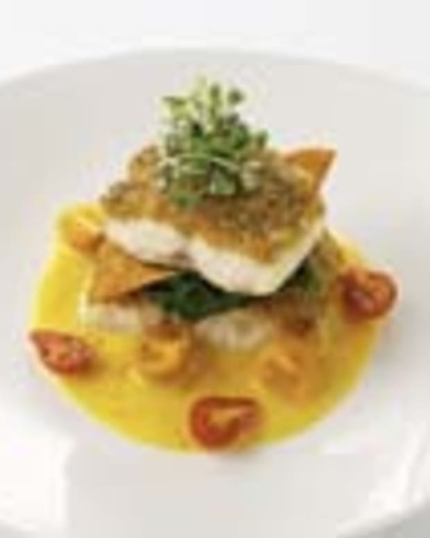 Golden Raisin-coated Sea Bass Napoleon