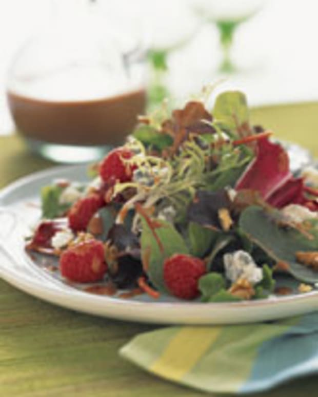 Wild Green Salad with Raspberry Walnut Vinaigrette