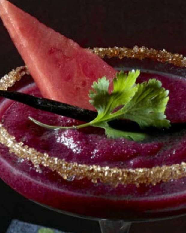 Frozen Watermelon Blackberry Margaritas with Cilantro and Vanilla