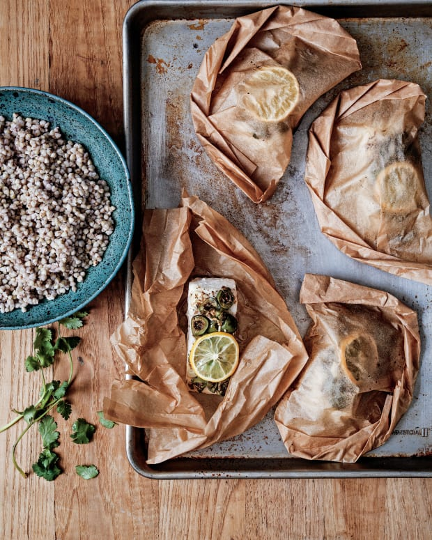Halibut Pockets with Spiced Olive Tapenade and Kasha