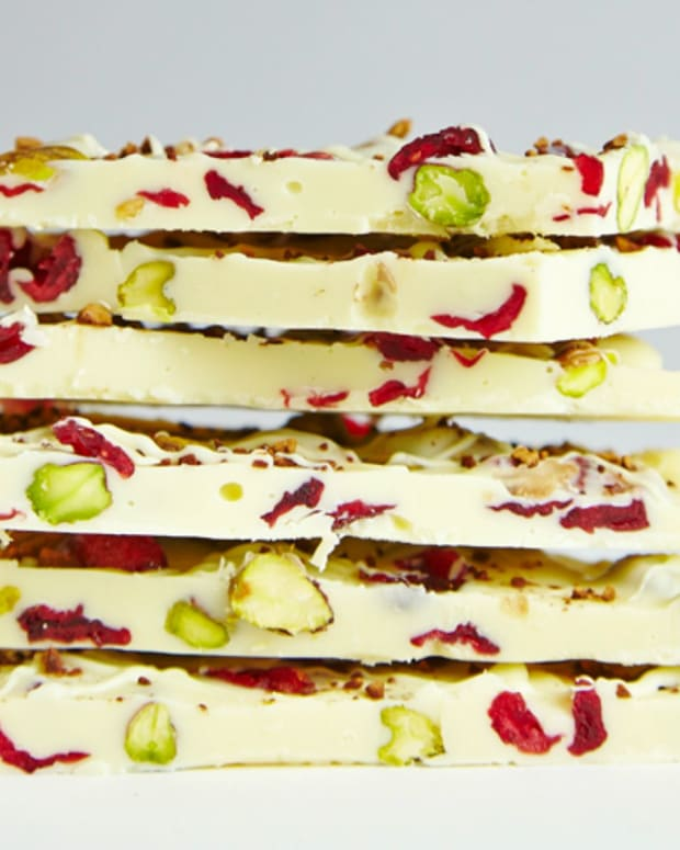 White Chocolate, PIstachio, Cranberry, and Coffee Bark
