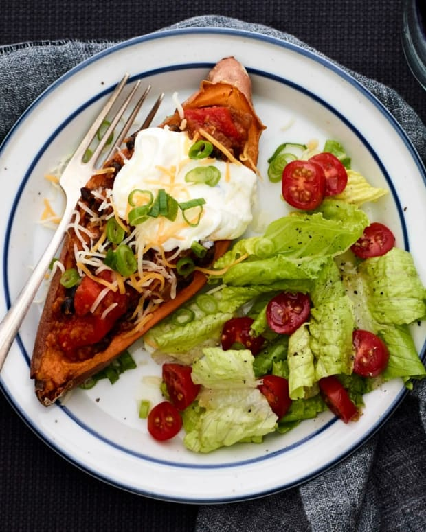 Black Bean Chili Stuffed Sweet Potatoes