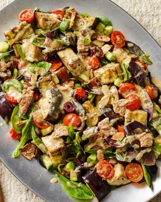 Sheet Pan Eggplant Fattoush Salad