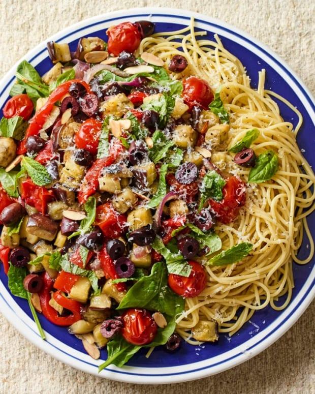 Mediterranean Pasta Salad with Eggplant
