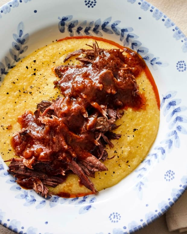 Instant Pot Braised Pot Roast with Creamy Olive Oil Polenta