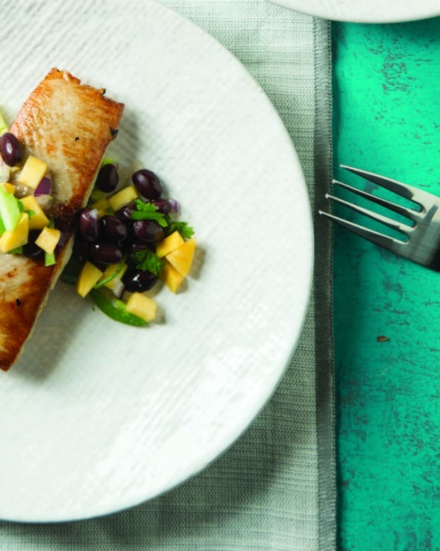 Pan Seared Mahi Mahi with Mango-Black Bean Salsa