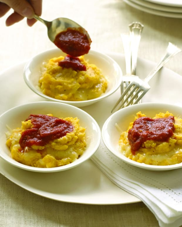 polenta stuffed with mozzarella