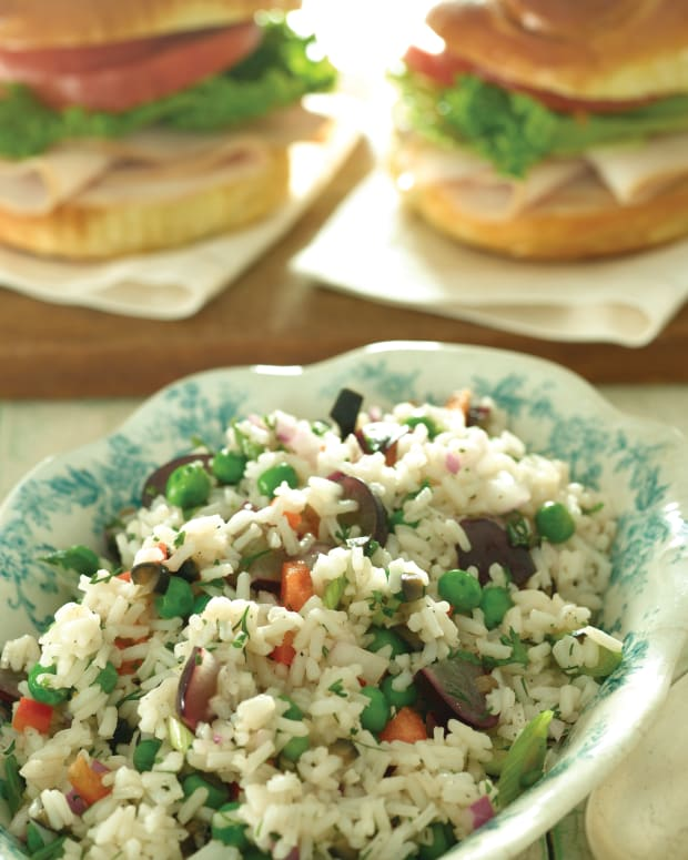 Smoked Turkey on Challah Rolls with Colorful Rice Salad