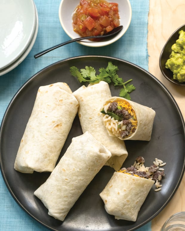 Black Bean Burritos with Ancho Chile Rice