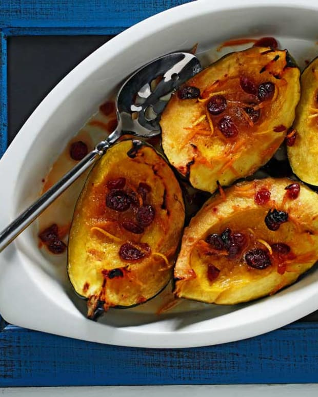 Baked Acorn Squash with Cranberry Orange Sauce