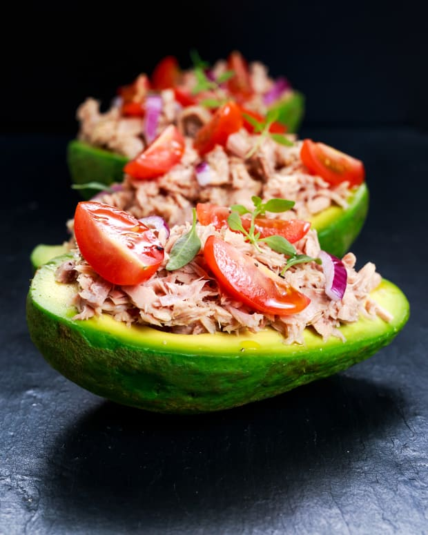 Smoked fish stuffed avocados