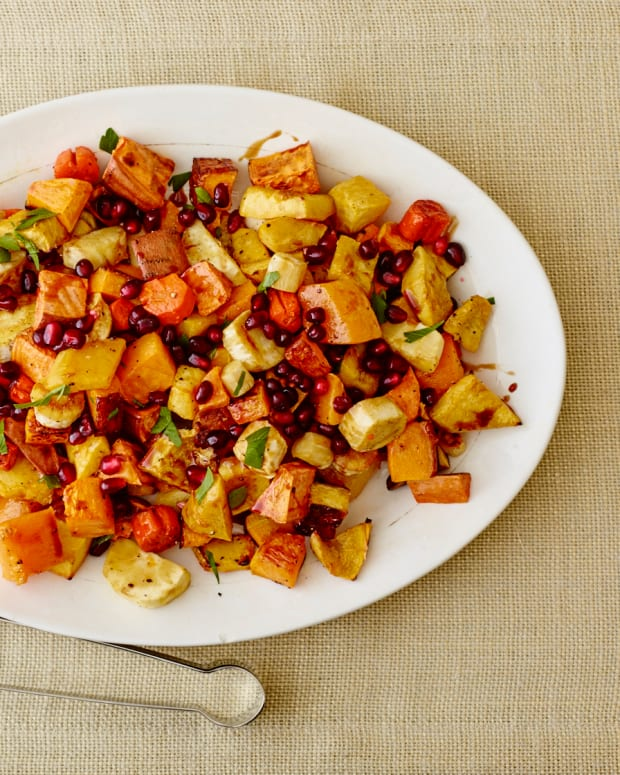 ROASTED FALL VEGETABLES WITH POMEGRANATE MOLASSES