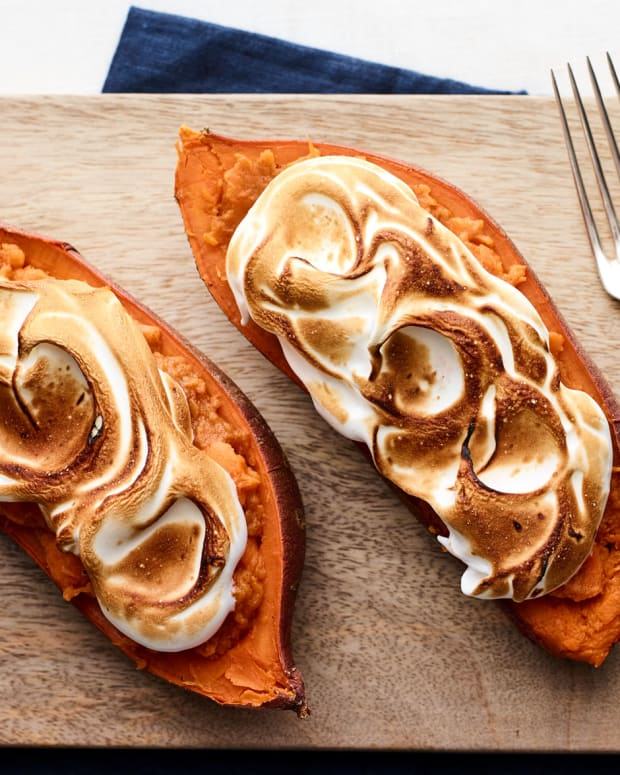 Double Stuffed Baked Sweet Potatoes with Brûléed Marshmallow