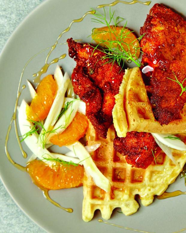 Orange Honey Spicy Fried Chicken on Zestsy Waffles wide