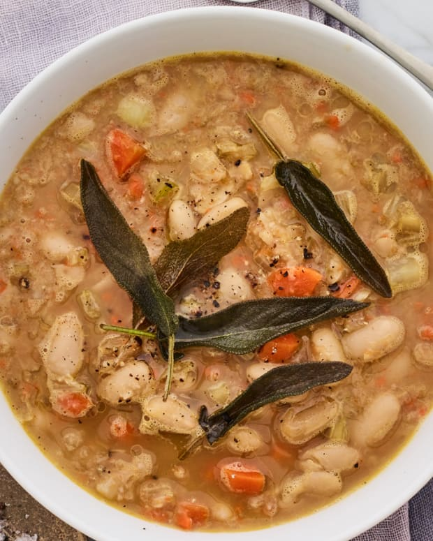 ITALIAN WHITE BEAN SOUP WITH FRIED SAGE LEAVES