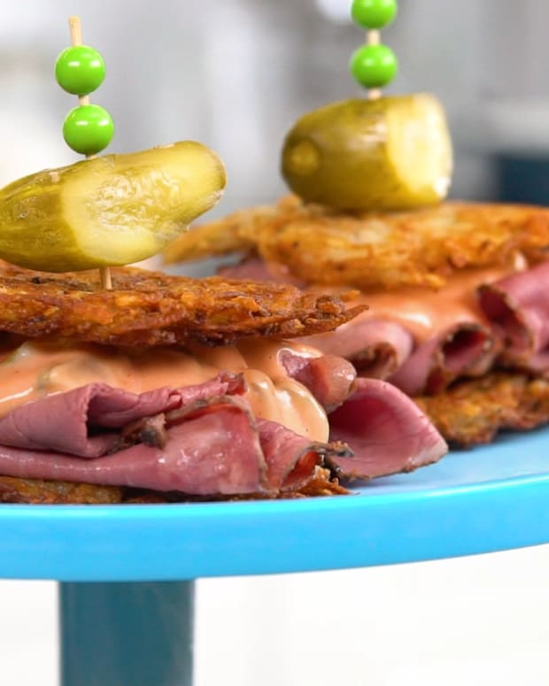 Reuben Potato Pancakes Sliders